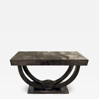 Karl Springer Karl Springer Art Deco Console Table in Lacquered Goat Skin 1970s