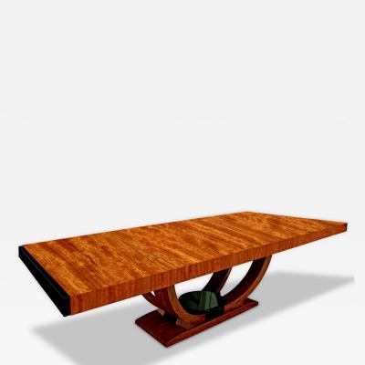 Karl Springer Karl Springer Art Deco Dining Table in French Ribbon Mahogany 1980s