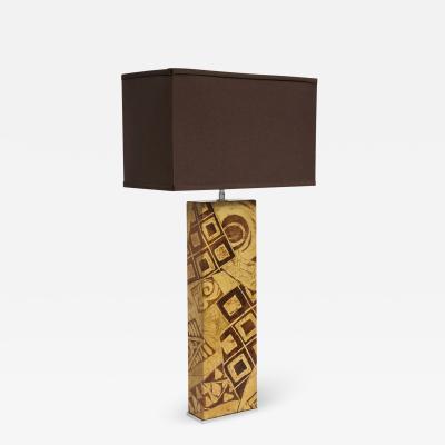 Karl Springer Karl Springer Artisan Decorated Leather Table Lamp 1970s