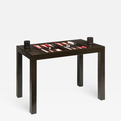 Karl Springer Karl Springer Backgammon Table in Embossed Lizard Leather 1970s
