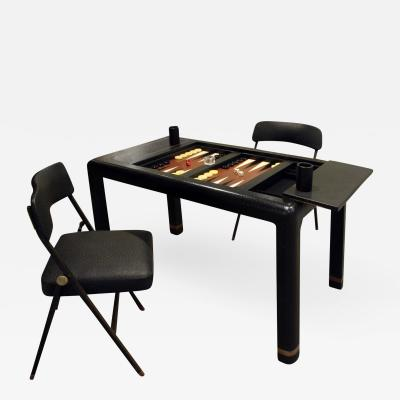 Karl Springer Karl Springer Backgammon Table with Folding Chairs in Ostrich 1970s signed