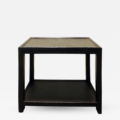 Karl Springer Karl Springer Black Ostrich Side Table 1970s