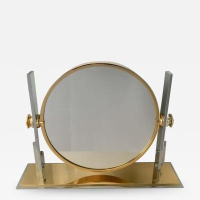Karl Springer Karl Springer Brass and Chrome Table Mirror