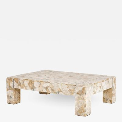 Karl Springer Karl Springer Brass and Tessellated Travertine Coffee Table 1970