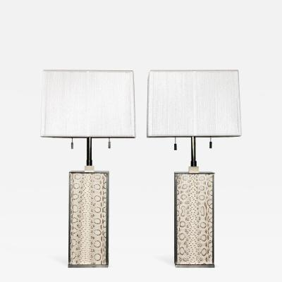 Karl Springer Karl Springer Bronze and Boa Table Lamps