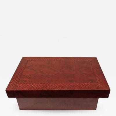 Karl Springer Karl Springer Burgundy Python Lidded Box 1980s