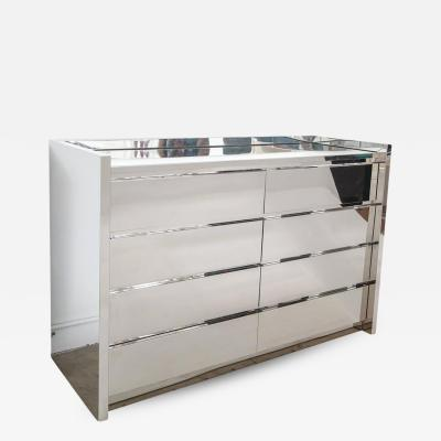 Karl Springer Karl Springer Chest of Drawers Dresser Stainless Steel Mirror Top USA 1980s