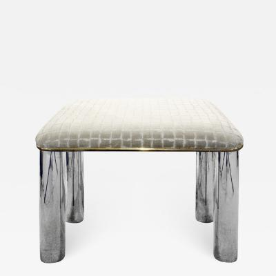 Karl Springer Karl Springer Chic Bench with Polished Stainless Steel Legs 1970s
