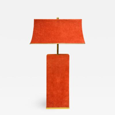 Karl Springer Karl Springer Chic Table Lamp in Brass and Red Suede 1970s