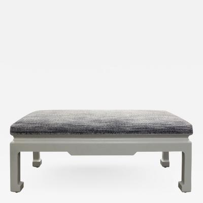 Karl Springer Karl Springer Chinese Style Bench in Gray Lacquered Linen 1970s