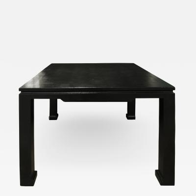 Karl Springer Karl Springer Chinese Style Game Table in Embossed Lizard Leather 1970s