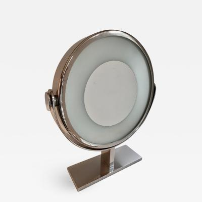 Karl Springer Karl Springer Chrome Vanity or Table Mirror Magnified with Light