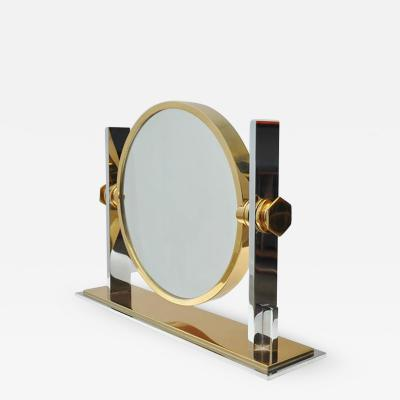 Karl Springer Karl Springer Chrome and Brass Vanity Mirror