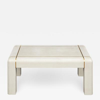 Karl Springer Karl Springer Coffee Table in Embossed Lizard Leather 1986 signed and dated