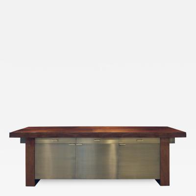 Karl Springer Karl Springer Credenza in Lacquered Bubinga with Oxidized Bronze Doors 1980s
