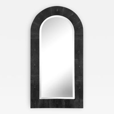 Karl Springer Karl Springer Dome Top Mirror in Black Shagreen 1980s Signed