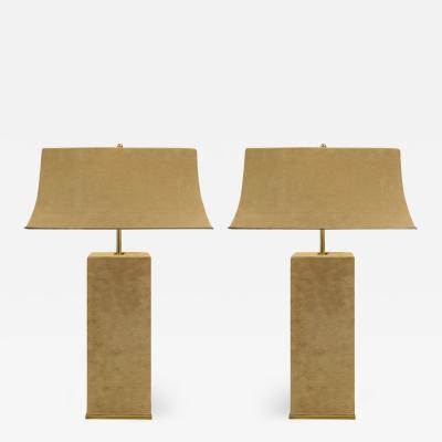 Karl Springer Karl Springer Elegant Pair Of Table Lamps In Brass And Beige Suede 1970s