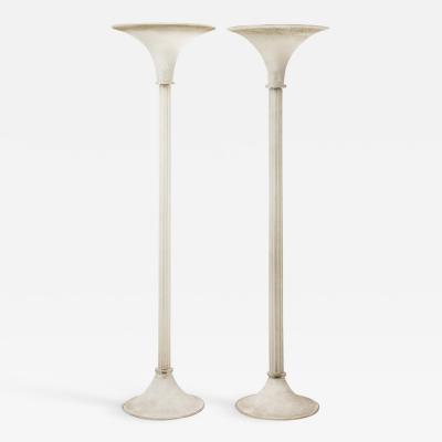 Karl Springer Karl Springer Elegant Pair of White Scavo Glass Torcheres 1980s