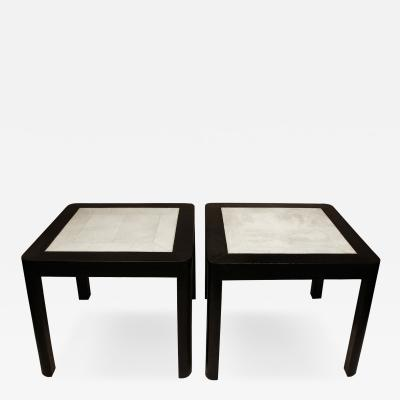 Karl Springer Karl Springer End Tables with Shagreen Tops 1980s