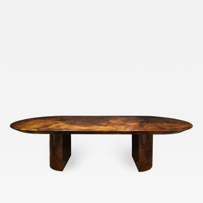 Karl Springer Karl Springer Exceptional Dining Table in Lacquered Goatskin 1980