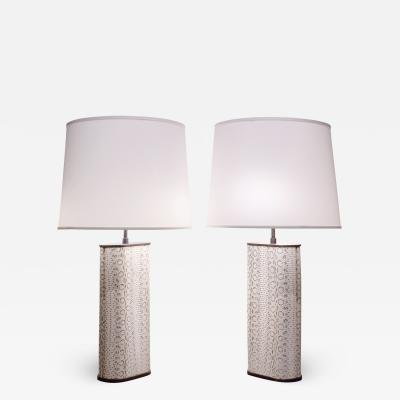 Karl Springer Karl Springer Exceptional Pair of Table Lamps in Bronze Covered in Boa 1970s