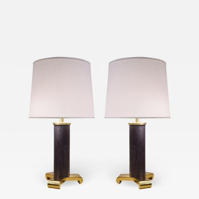Karl Springer Karl Springer Exceptional Pair of Table Lamps in Gunmetal and Brass 1980s
