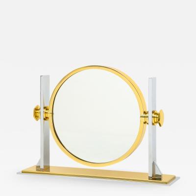 Karl Springer Karl Springer Fine Vanity Mirror in Polished Steel and Brass 1980s