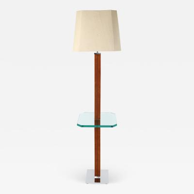 Karl Springer Karl Springer Floor Lamp In Suede And Chrome with Glass Table 1970s