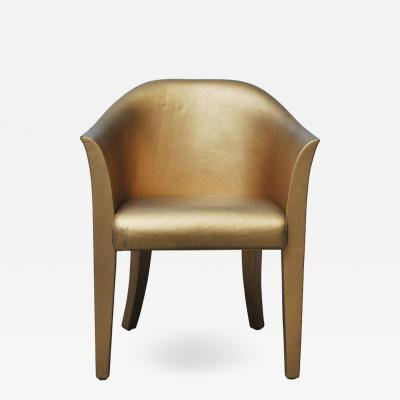 Karl Springer Karl Springer Gold Leather Armchair