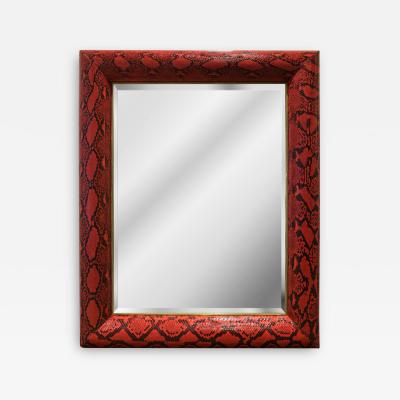 Karl Springer Karl Springer Half Round Molding Mirror in Red Python 1980s Signed