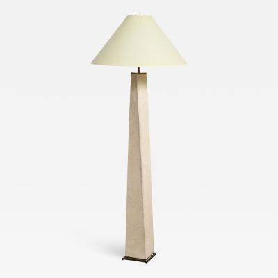 Karl Springer Karl Springer J M F Floor Lamp in Sandstone with Bronze Hardware 1985