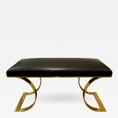Karl Springer Karl Springer JMF Bench in Brass with Black Leather 1970s