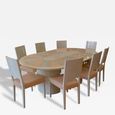 Karl Springer Karl Springer Knife Edge Dining Table and Eight Chairs