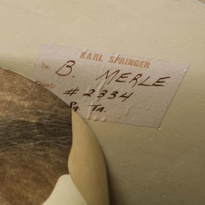 Karl Springer Karl Springer Knife Edge Game Table in Lacquered Goatskin 1970s Signed