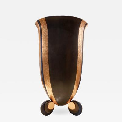 Karl Springer Karl Springer Large Bronze and Copper Art Deco Vase 1980s