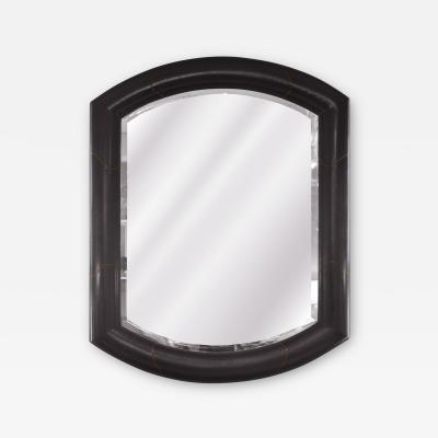 Karl Springer Karl Springer Large Marmol Style Mirror in Leather and Bronze 1980s Signed