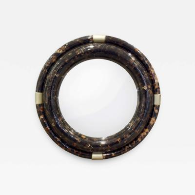 Karl Springer Karl Springer Large Wall Hanging Mirror in Tessellated Horn 1970s