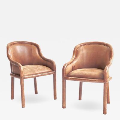 Karl Springer Karl Springer Leather Clad Armchairs