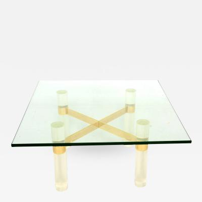 nice square white lucite coffee table for your living room decor