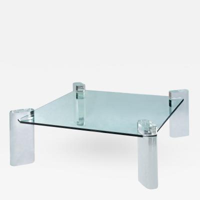 Karl Springer Karl Springer Lucite Leg Coffee Table 1980s signed