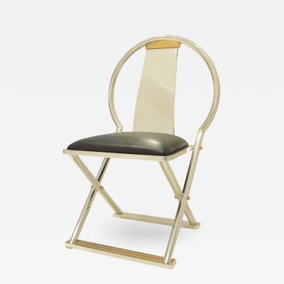 Karl Springer Karl Springer Lucite Steel Leather Brass Chinese Chair USA 1980s