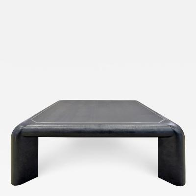 Karl Springer Karl Springer Mark II Coffee Table In Black Lizard Leather 1989 Signed