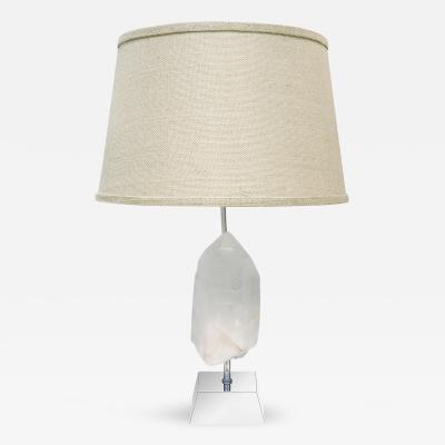 Karl Springer Karl Springer Mounted White Quartz Crystal Table Lamp 1970s