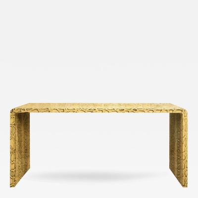 Karl Springer Karl Springer Natural Python Waterfall Console Table 1970s