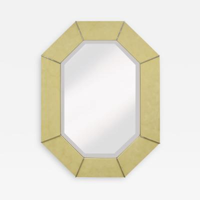 Karl Springer Karl Springer Octagonal Mirror in Ivory Lacquer with Chrome Accents 1970s