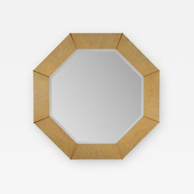 Karl Springer Karl Springer Octagonal Mirror in Shagreen Lacquer with Brass Accents 1980s