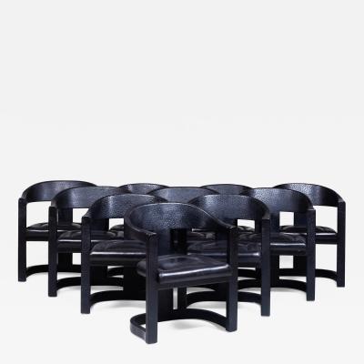 Karl Springer Karl Springer Onassis Chair Black leather and faux Ostrich Set of 10