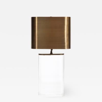 Karl Springer Karl Springer Oval Lucite Table Lamp with Bronze Shade 1970s