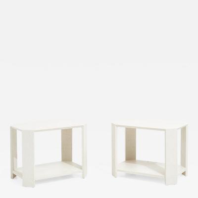 Karl Springer Karl Springer Pair Grasscloth Side Tables 1970