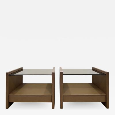 Karl Springer Karl Springer Pair Of Bedside Tables in Emu Leather And Bronze Glass Tops 1980s